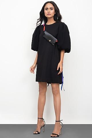Black Shift Dress With Neon Tassels by Deepika Arora