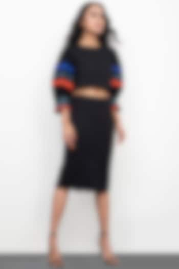 Black Bodycon Skirt Set by Deepika Arora