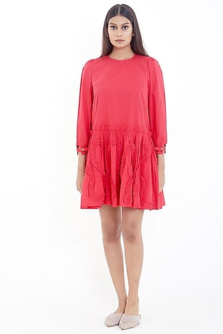 Red Cotton Mini Dress by Deepika Arora