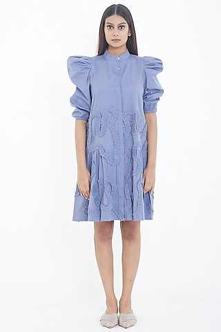 Lavender Mini Dress With Puffed Sleeves  by Deepika Arora