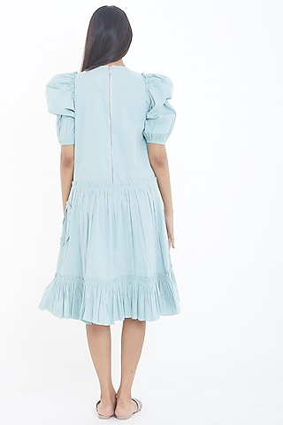 Sky Blue Ruffled Mini Dress by Deepika Arora
