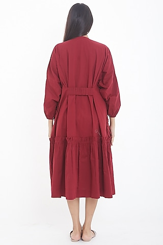 Red Frilled Midi Dress by Deepika Arora