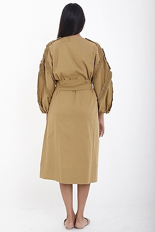 Mud Brown Midi Dress by Deepika Arora