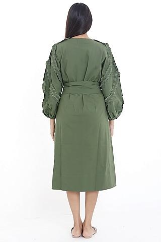 Olive Green Midi Dress by Deepika Arora