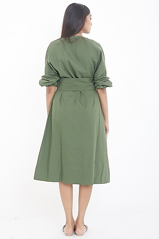 Olive Green Midi Dress With Belt by Deepika Arora
