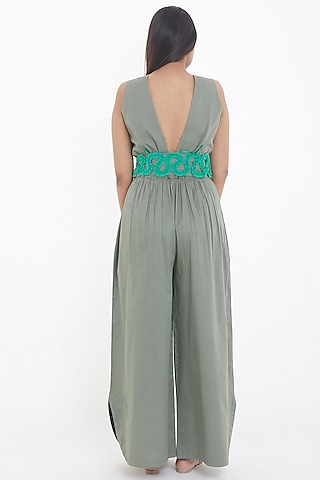 Olive Green Pleated Jumpsuit by Deepika Arora