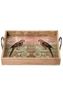 Pink & Green Wooden Tray With Enamel Finish  by Artychoke