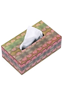 Green & Pink Wooden Tissue Box With Enamel Finish  by Artychoke