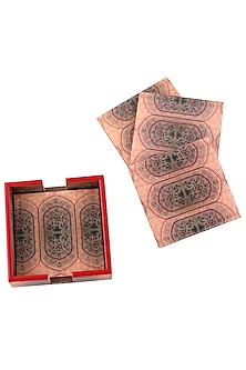 Red Wooden Coasters With Enamel Finish (Set of 4) by Artychoke