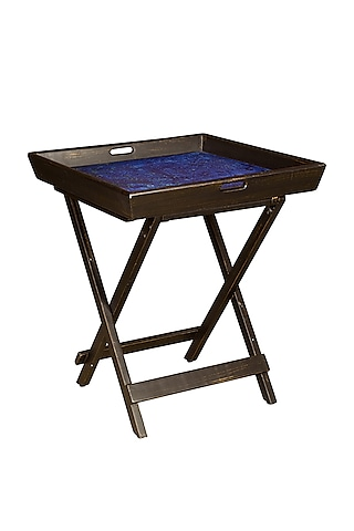 Black & Blue Split Butler Tray Wooden Table by Artychoke