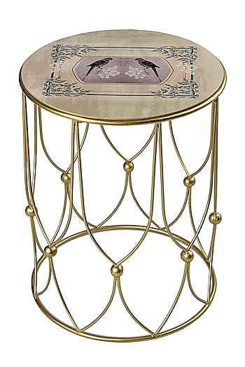 White & Gold Parrot Boota Table by Artychoke