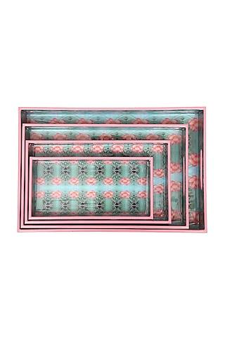Ivory Lotus High Gloss Trays (Set of 4) by Artychoke
