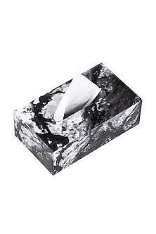 Black Marble Wooden Tissue Box by Artychoke