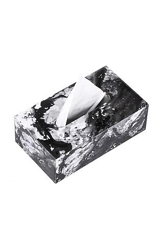 Black Marble Wooden Tissue Box by Artychoke