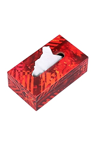 Red Strokes Wooden Tissue Box by Artychoke