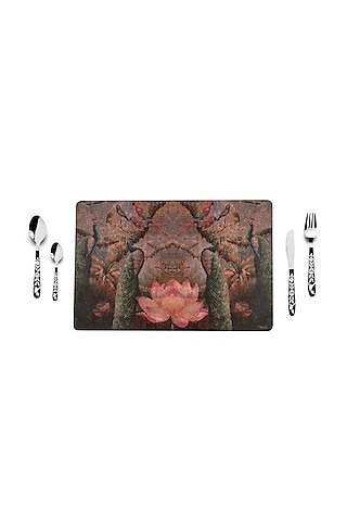 Wine Peacock Table Mats (Set of 6) by Artychoke