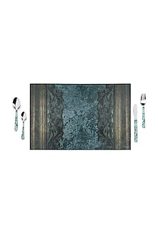 Green Cement Carved Table Mats (Set of 6) by Artychoke