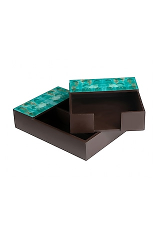 Nandi Teal Cutlery & Napkin Holder Set by Artychoke