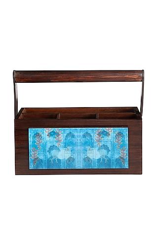 Nandi Blue Wooden Organiser by Artychoke