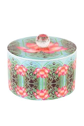 Blue Enameled Lotus Box by Artychoke