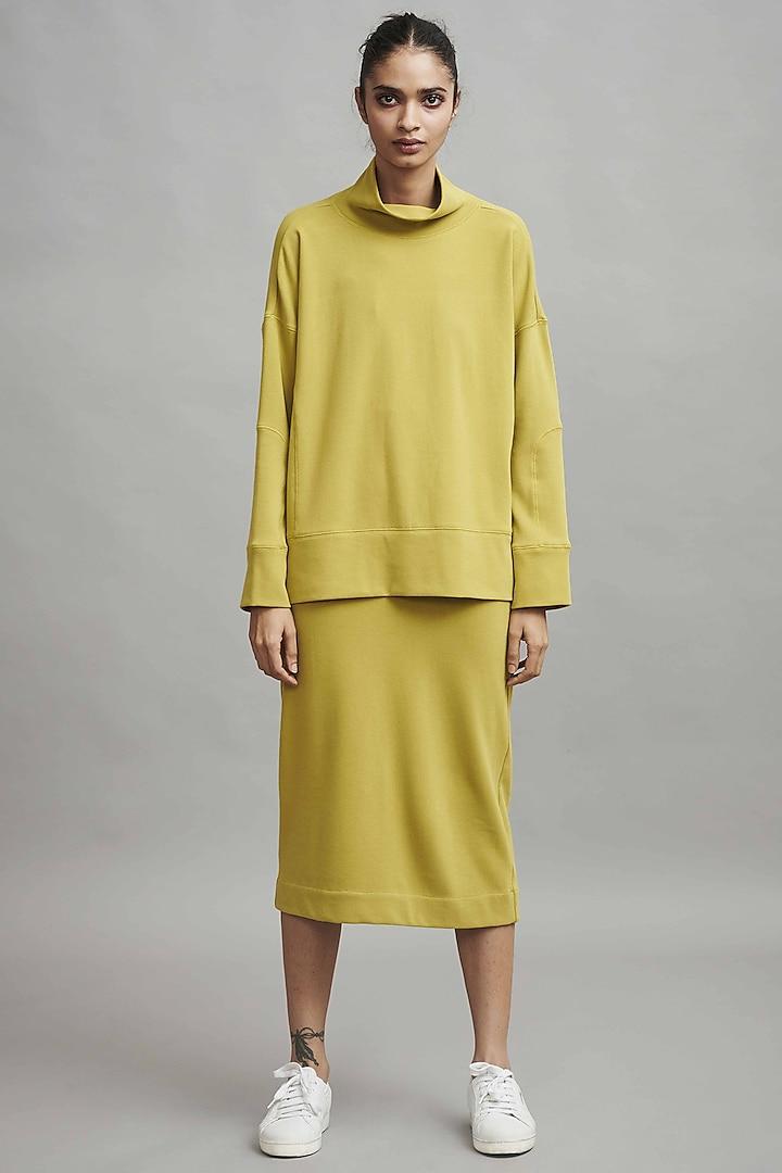 Moss Green Midi Skirt Set by Dash and Dot