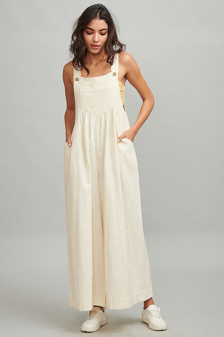 Ivory Cotton Flowy Dungarees by Dash and Dot