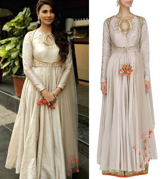 Grey Embroidered Anarkali and Palazzo Pants Set by Dinesh Malkani