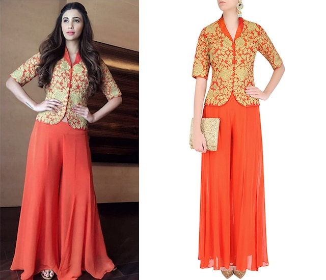 Orange and Gold Dori Embroidered Jacket With Palazzo Pants by Jhunjhunwala