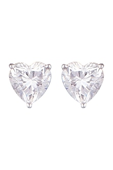 White Finish Heart Shaped Zirconia Earrings by Diosa Paris