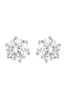 White Finish Round Swarovski Zirconia Earrings by Diosa Paris