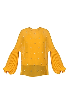 Harvest Gold Sheer Sunflower Top by Sameer Madan