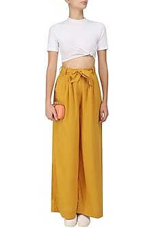Harvest Gold Disco Palazzo Pants by Sameer Madan