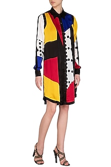 Multi Colored Printed Shirt Dress by Sameer Madan