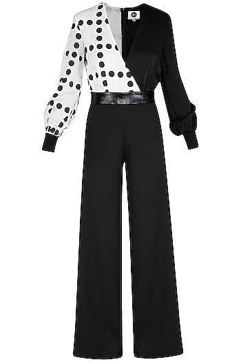 Black Monochrome Printed Jumpsuit by Sameer Madan