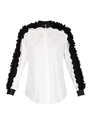 White Ruffled Shirt by Sameer Madan