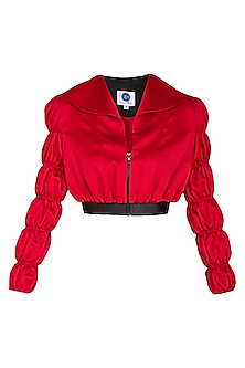 Red Cropped Jacket With Caterpillar Sleeves by Sameer Madan