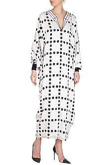 White Checkered Polka Printed Kaftan by Sameer Madan