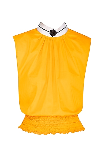 Yellow Embroidered Crop Top by Sameer Madan