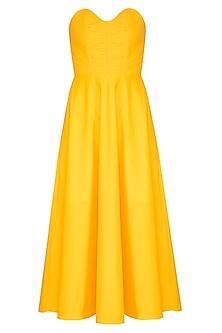 Yellow Corset Tube Dress by Sameer Madan