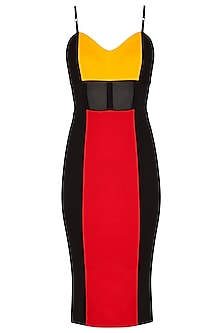 Multi Colored Strappy Bodycon Dress by Sameer Madan