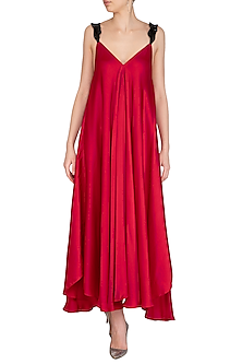Red Asymmetrical A-line Dress by Sameer Madan