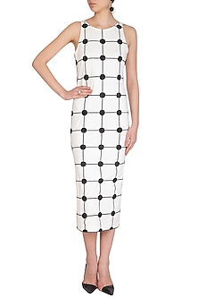 White Checkered & Embroidered Slip Dress by Sameer Madan