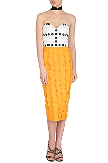 Yellow Printed Tube Dress by Sameer Madan