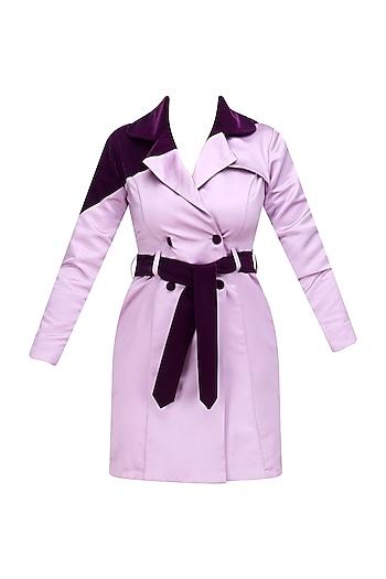 Aubergine Velvet Spy Trench Coat by Sameer Madan