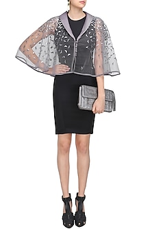 Thistle Triangular Metallic Sequins Work Cape by Sameer Madan