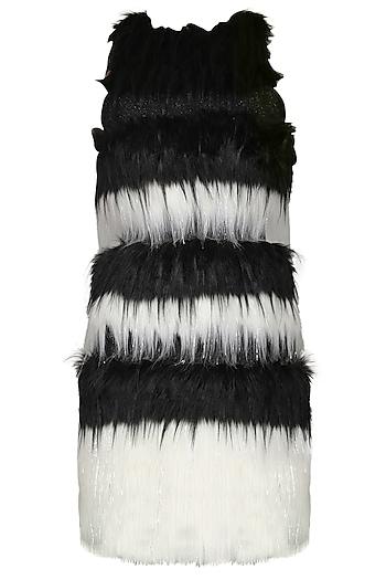 Black and White Faux Fur Mini Dress by Sameer Madan