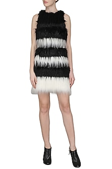 Black and White Faux Fur Mini Dress by Sameer Madan