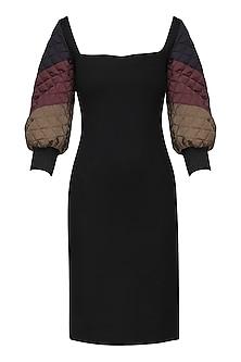 Black Knee Length Bodycon Dress by Sameer Madan
