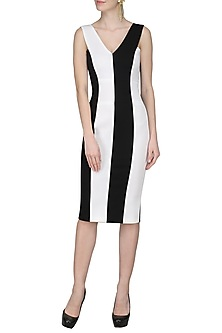 Black and White Bodycon Dress by Sameer Madan