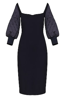 Midnight Blue Bodycon Knee Length Dress by Sameer Madan